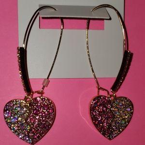 Betsey Johnson two tone heart shaped earrings
